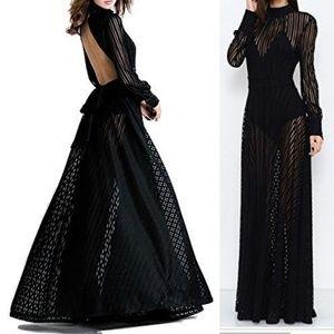 Mesh lines maxi dress